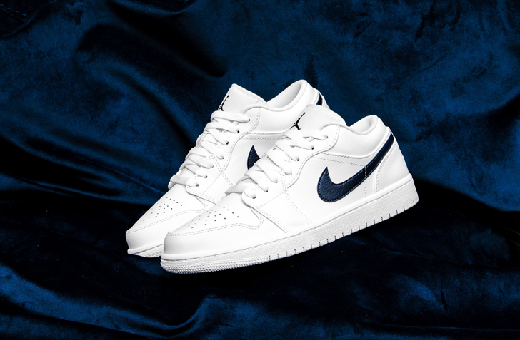 "AIR JORDAN 1 LOW ""WHITE / OBSIDIAN"" (553558-114)"