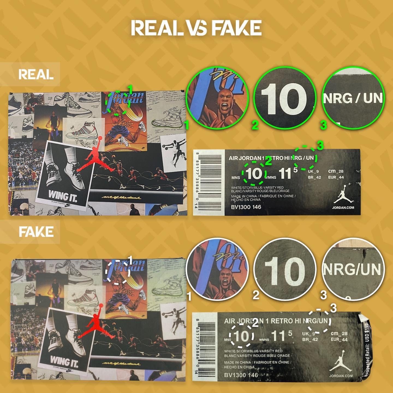 ナイキ エアジョーダン 1 レトロ ハイ NRG X ユニオンの本物と偽物の比較画像 (BV1300-146)
